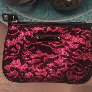 Betsey Johnson makeup bag hot pink w/ black lace